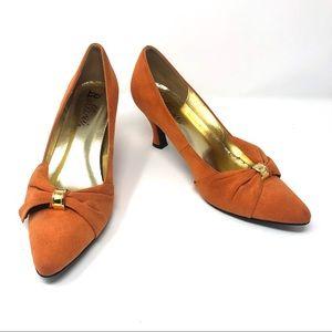 Bellini Charm Orange Microsuede Pumps Size 9.5W